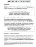 """Varianta PDF a articolului """"Originea şi Sensul Vietii"""""""